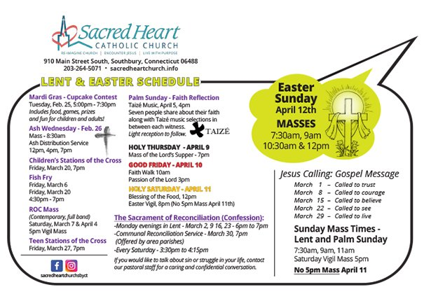 2020 Lent and Easter Schedule